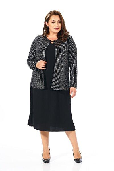 LİLAS XXL Kadın Gri Ceketli Krep Elbise