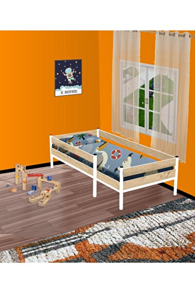 Brady Mobilya Lefkas Meşe&beyaz Rita Metal Gövdeli Geçmeli Sistem Pratik Kurulum Montessori Karyola 70x130 90x190