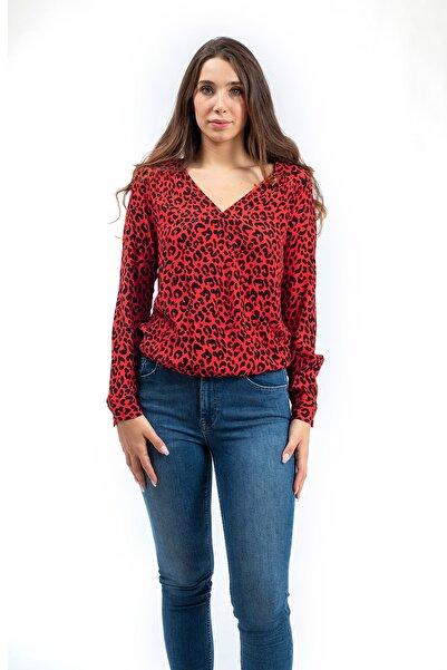 PIECES Kadın Kırmızı Kruvaze Yaka Bluz
