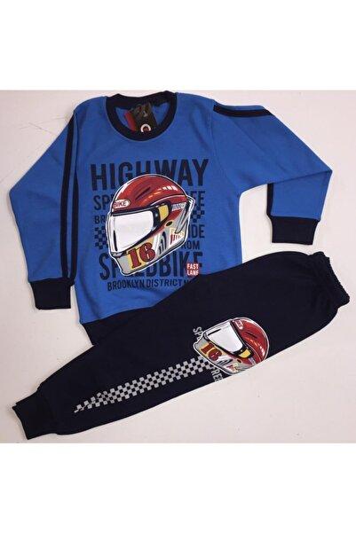 Tarık Erkek Çocuk Mavi Baskılı Pijama Takım