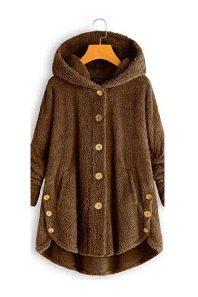 Visqon Kadın Kahverengi Kapşonlu Düğme Detay Wellsoft Ceket taba