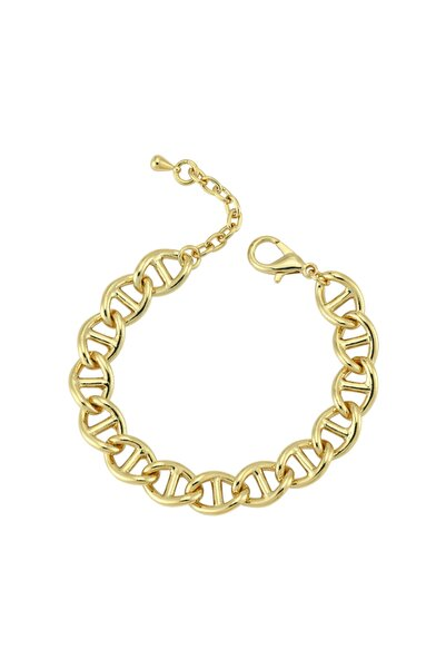 Luzdemia Kadın Çelik 14k Mikron Altın Kaplama Bileklik - Gold
