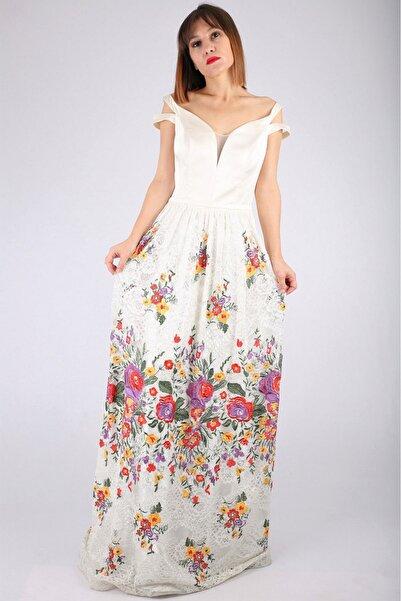Günay Kadın Kemik Rengi Askılı Abiye Elbise Lg6352