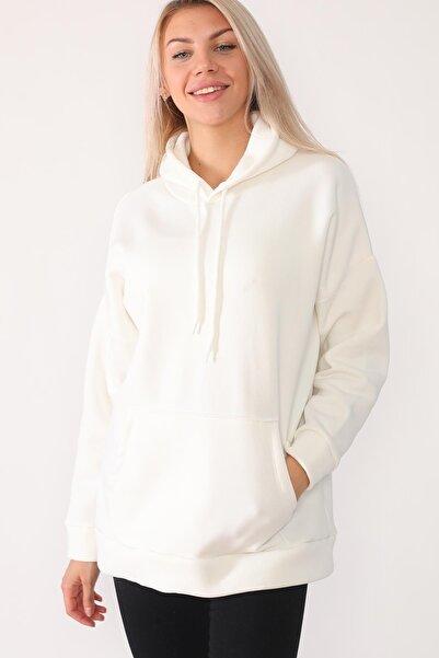 Beyaz Giyim Moda Kadın Ekru Kapşonlu Kanguru Cepli Sweatshirt