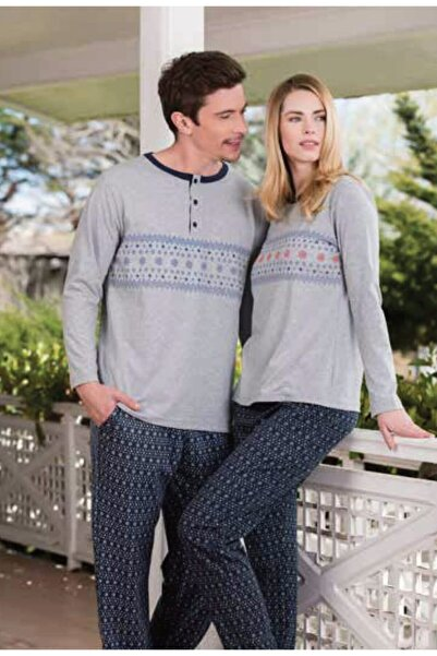 Yeni İnci Unisex Gri Sevgili Karı Koca Uzun Kollu Pamuklu Pijama Takım
