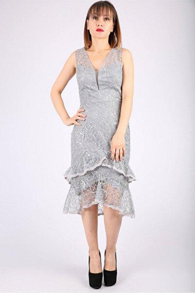 Günay Kadın Gri Abiye Kısa Güpür Elbise