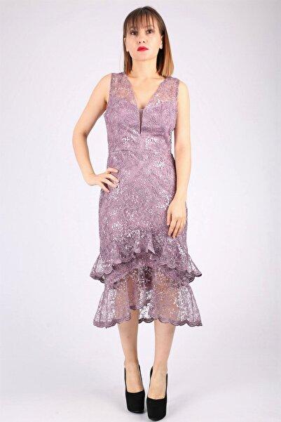Günay Kadın Gül Kurusu Abiye Kısa Güpür Elbise