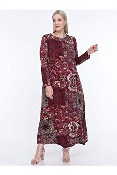 Kadın Bordo Etnik Desenli Büyük Beden Elbise