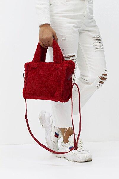 MYROKA Kadın Kırmızı Askılı Peluş Çanta