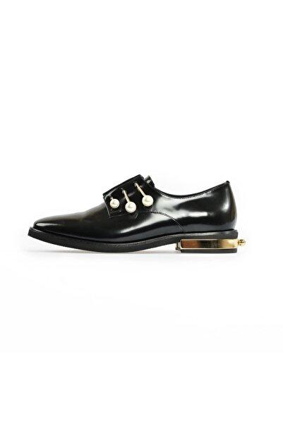 Flower Kadın Siyah İnci Detaylı Günlük Ayakkabı