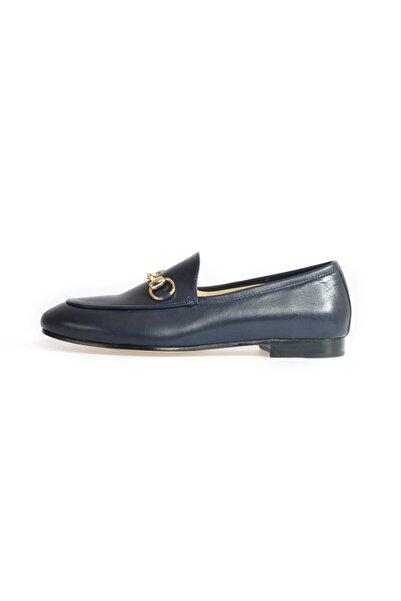 Flower Kadın Lacivert Toka Detaylı Düz Ayakkabı