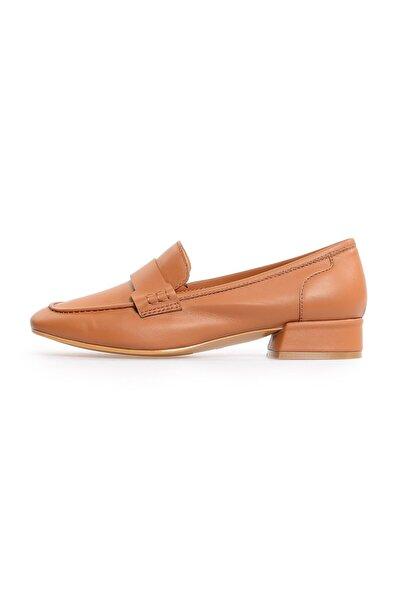 Flower Kadın Taba Deri Köşeli Burun Günlük Ayakkabı