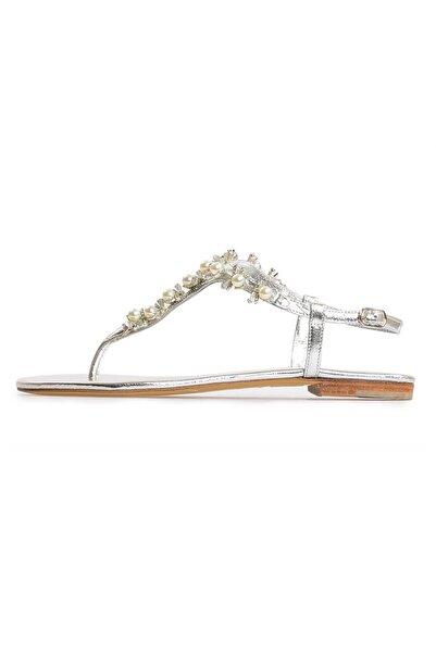 Flower Kadın Lame Deri Taşlı Sandalet