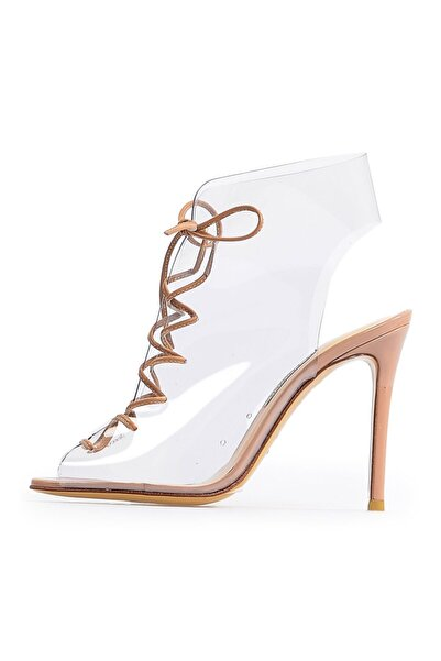 Flower Kadın Vizon Şeffaf Topuklu Sandalet