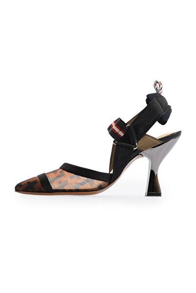 Flower Kadın Siyah File Detaylı Topuklu Ayakkabı