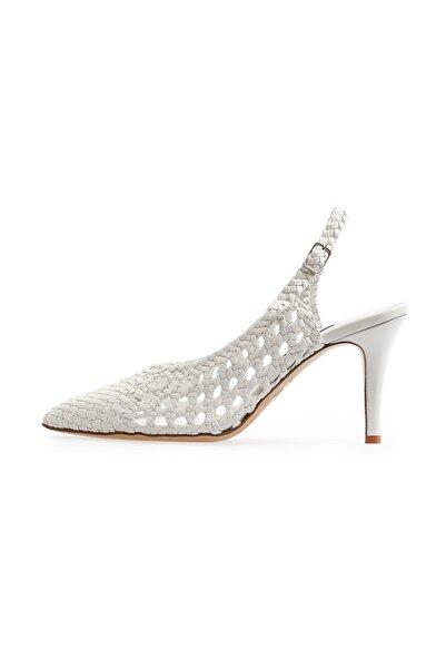 Flower Kadın Beyaz Deri Örgü Topuklu Ayakkabı