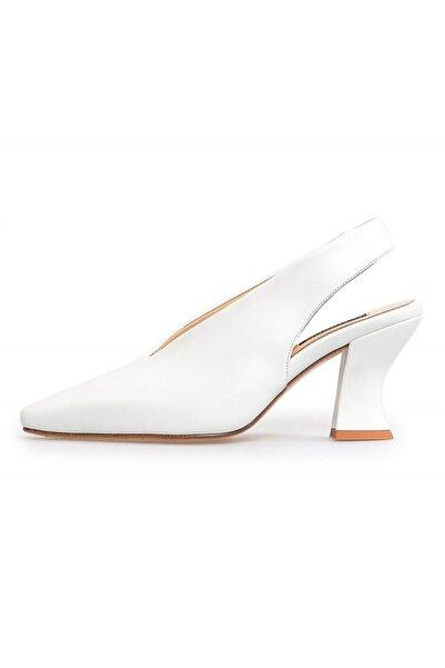 Flower Kadın Beyaz Deri Kalın Topuklu Ayakkabı