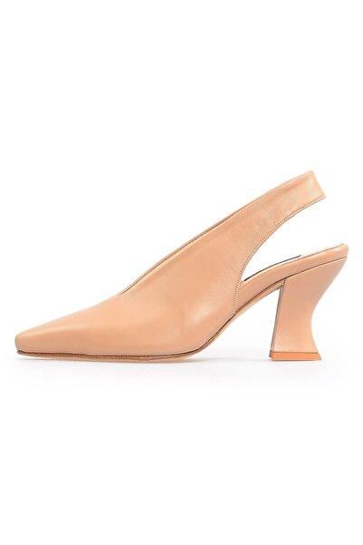Flower Kadın Nude Deri Kalın Topuklu Ayakkabı