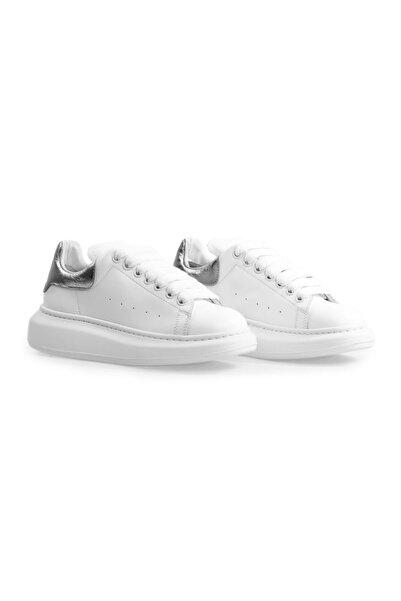 Flower Kadın Beyaz Antrasit Yüksek Tabanlı Spor Ayakkabı