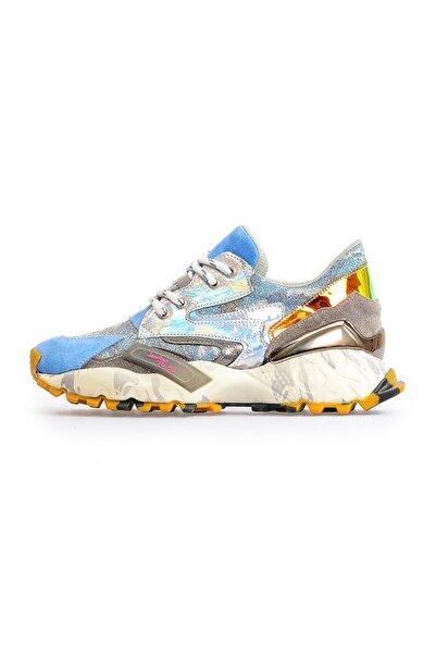 Flower Kadın Mavi Taban Detaylı Spor Ayakkabı