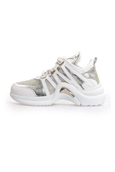 Kadın Beyaz Kombin File Detaylı Sneaker