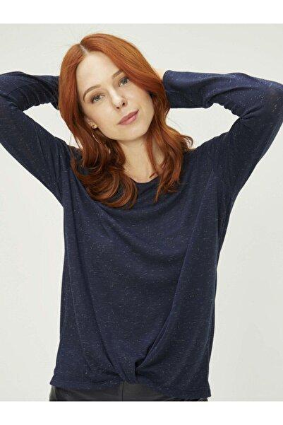 Xint Kadın Lacivert Beyaz Dokulu Yuvarlak Yaka Belden Bağlamalı Bluz - 20KB02601631-05