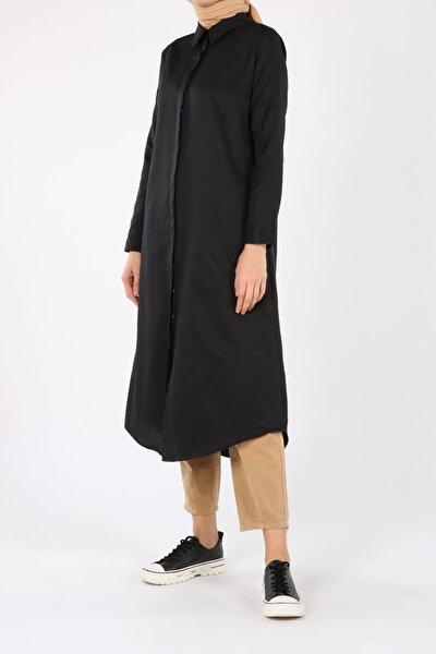 ALLDAY Kadın Siyah Pamuklu Uzun Gömlek