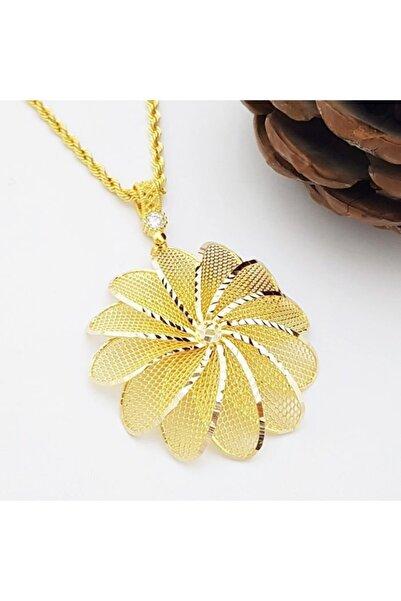 altınplaza Büyük Çiçekli Uzun Zincirli Madalyon Altın Kolye Kl06785