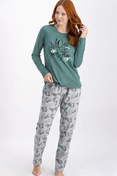 Arnetta Kadın Cam Yeşili Düğmeli Gömlek Pijama Takımı