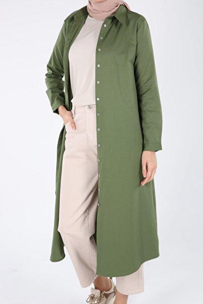 ALLDAY Kadın Pastel Yeşil Pamuklu Uzun Tesettür Gömlek
