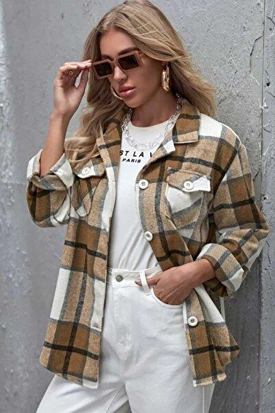 Madmext Mad Girls Camel Kadın Oduncu Gömlek MG796