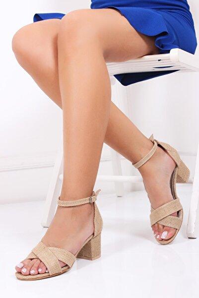 Deripabuc Kadın Bej Hakiki Deri Topuklu Hasır Sandalet Dp30-7063