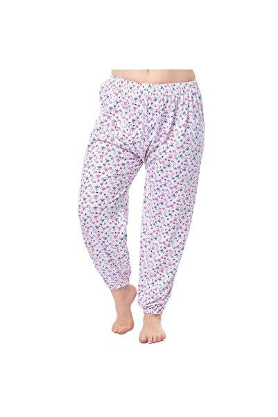 Ören Yıldız Çamaşırları Kadın 2'li Kışlık Beyaz Desenli Lastikli Uzun Pijama Altı