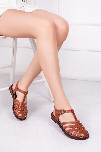 Deripabuc Kadın Taba Hakiki Deri Sandalet Dp-0067