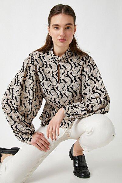 Koton Kadın Siyah Desenli Gömlek 1KAK63589EW