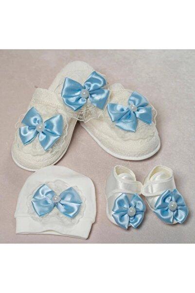 Little Baby Erkek Bebek Mavi Anne Terlik Ve Tac  Lohusa Seti