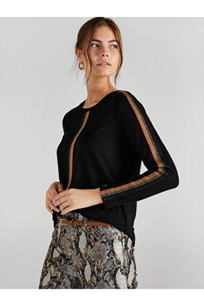 Faik Sönmez Kadın Siyah Şerit Detaylı Uzun Kol T-shirt 61632