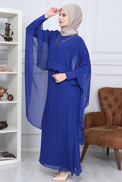 Bellinz Kadın Indigo Kolu Pelerinli Tesettür Abiye Mdc1147