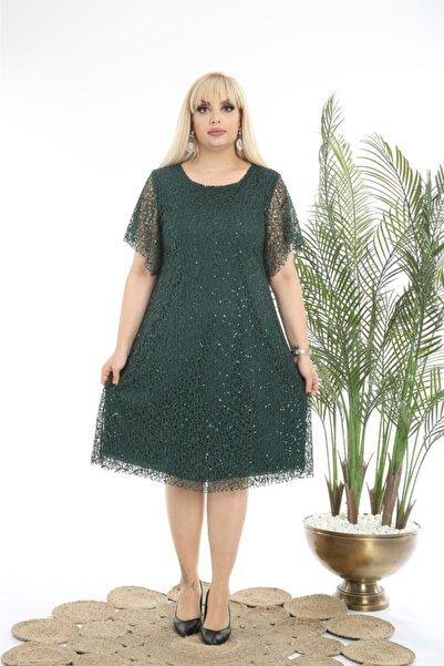 FİDAN TEKSTİL Kadın Büyük Beden Yeşil Kısa Payetli Abiye Elbise