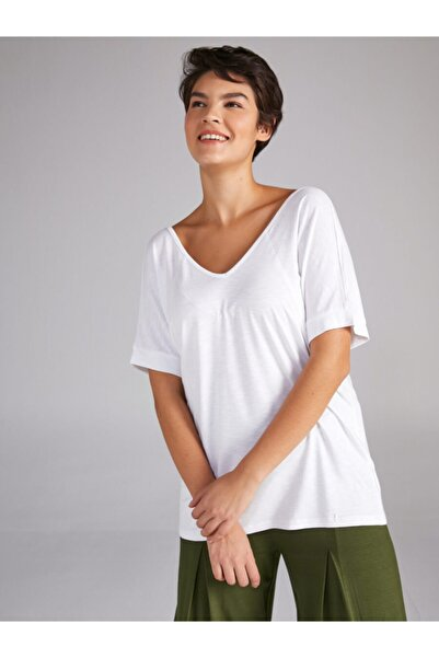 Faik Sönmez Kadın Beyaz V Yaka T-shirt