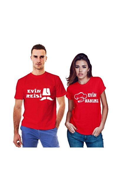 HediyeMania Çiftlere Özel 2021 Evin Reisi Evin Hanımı Baskılı Kırmızı Sevgili Tişörtleri Tişört Kombin