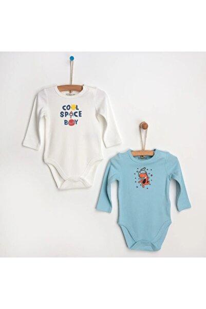 HelloBaby Erkek Bebek Mavi Termal  2'li Uzun Kol Body