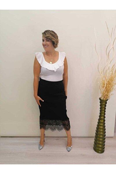 Quzu Kadın Alttan Çıt Çıtlı V Yaka Bluz