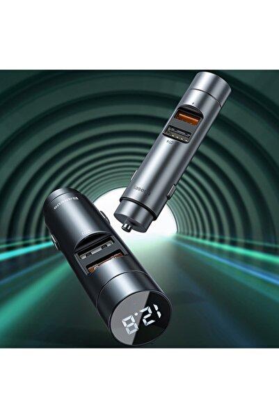 Baseus 18w Hızılı Şarj Column Bluetooth 5.0 Araç Mp3 Dual Usb Araç Şarjı