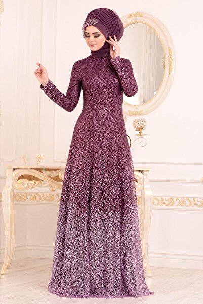Neva Style Tesettürlü Abiye Elbise - Simli Mürdüm Tesettür Abiye Elbise 2081mu