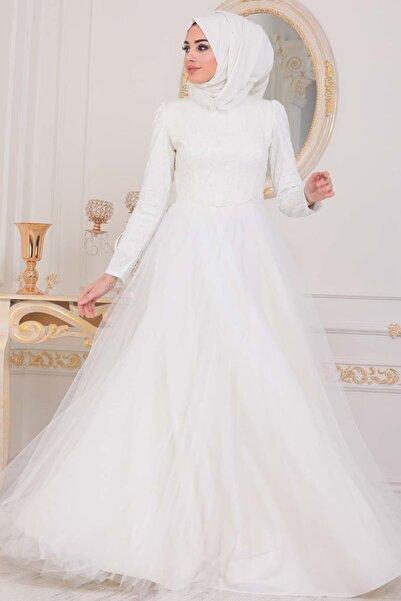 Neva Style Tesettürlü Abiye Elbise - Pul Payetli Ekru Tesettür Abiye Elbise 4074e