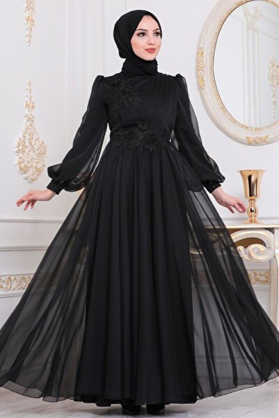 Neva Style Tesettürlü Abiye Elbise - Dantelli Siyah Tesettür Abiye Elbise 22198s