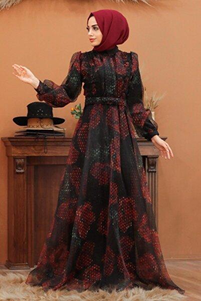Neva Style Tesettürlü Abiye Elbise - Tüllü Siyah Tesettür Abiye Elbise 2318s