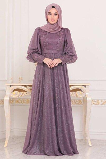 Neva Style Tesettürlü Abiye Elbise - Balon Kol Koyu Gül Kurusu Tesettür Abiye Elbise 21521kgk