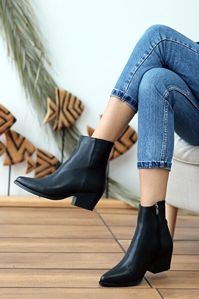Pembe Potin Kadın Siyah Orta Topuklu Bot